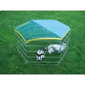 Freigehege, verzinkt, 6 Gitter je 56,5x56,5 cm, mit Tür und Netz